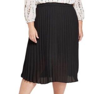 Ava & Viv Pleated Elastic Waist Black Skirt sz3X